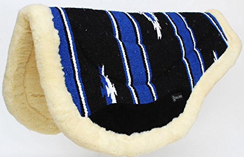 CHALLENGER Cotton Western Horse Saddle PAD 32x30 Round Wool Felt Fleece Back Blue Tack 3474 ()