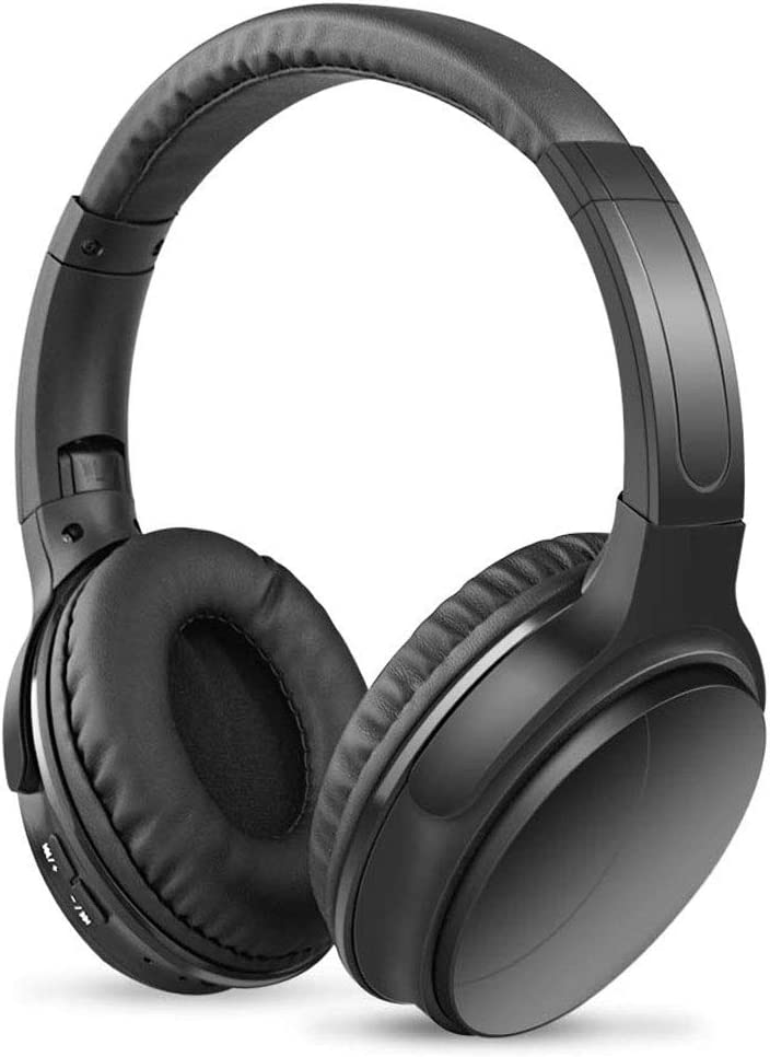 Bluetooth Headphones with Built-in Mic, Wireless and Wired Over-Ear Headset with Comfortable Earpad for PC, Tablets and Smartphones Black