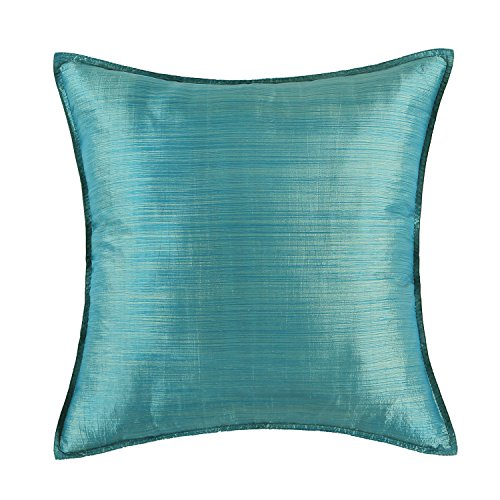 Euphoria CaliTime Cushion Cover Throw Pillow Case Shell, Modern Silky Light Weight Dyed Stripes Both Sides, 18 X 18 Inches, Teal