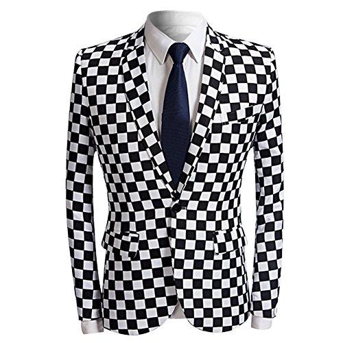 Mens Fashion Slim Fit Suit Jacket Casual Print Shiny One Button Blazer Coat (Zebra Print Jacket)