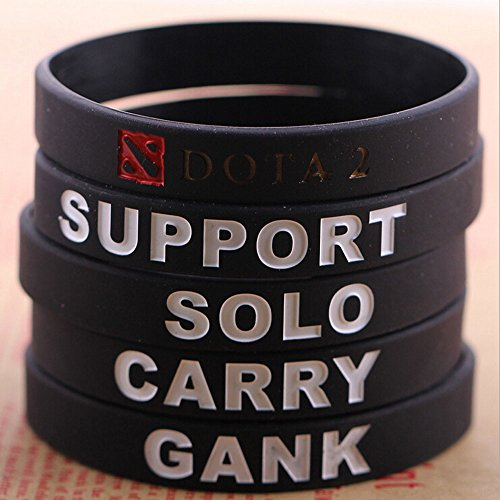 New Dota2 Wristband 5pcs/set Silicone Black Concave Carved Coloring Bracelet