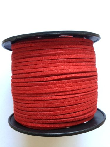 (Kourtney's Crafts Red Metallic Glittered Faux Suede Leather Cord 3mm 100yds per roll DIY)