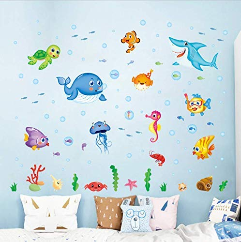 Leguliya Wall Sticker Aquarium Wall Stickers Children Room Home Decor Underwater Vinyl Kids Room Decal Baby Nursery Decor (Fish Wall Border)