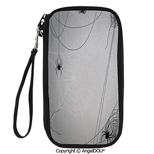 PUTIEN Fashion polyester printed card bag purse Spiders Hanging from Webs Halloween Inspired Design Dangerous Cartoon Icon Decorative travel Passport Wallet. -