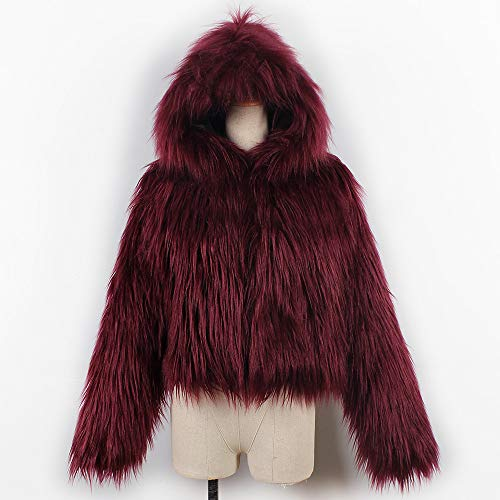 Pengy--Blouse PENGYGY Women's Short Hooded Faux Fur Parka Jacket Coat Outerwear Overcoat by Pengy--Blouse (Image #5)