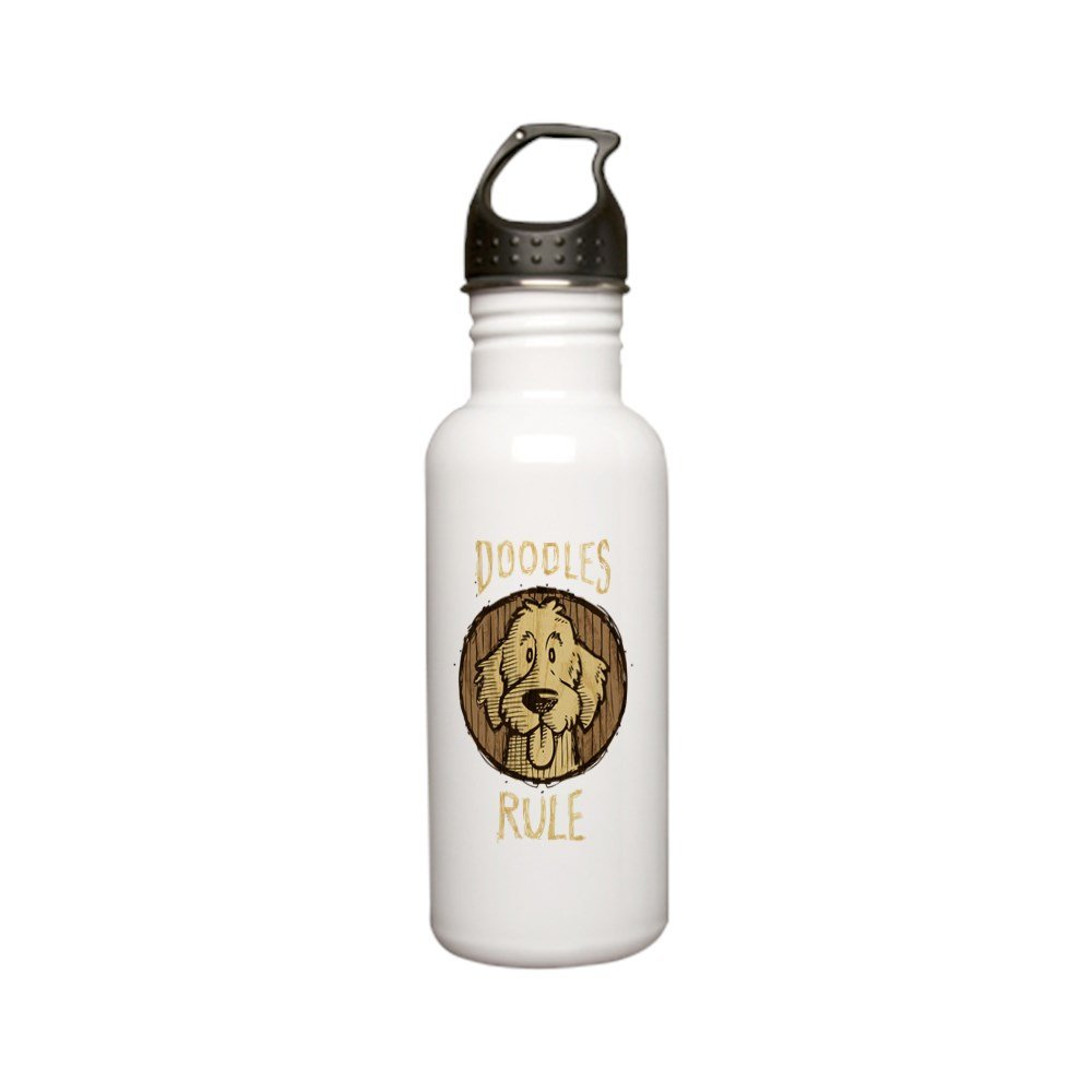 CafePress - 2-Doodles-Rule-Wood-Sc Stainless Water Bottle 0.6L - Stainless Steel Water Bottle, 0.6L Sports Bottle by CafePress (Image #1)