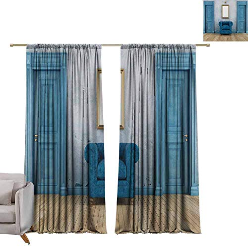 Waterproof Window Curtain Antique,Empty Room with Two Doors Armchair and Simple Mirror with Golden Color Frame,Blue Sand Brown W96 x L84 Drapes for Living Room