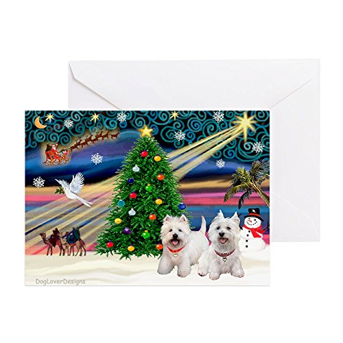 (CafePress Xmas Magic/2 Westies Greeting Card (20-pack), Note Card with Blank Inside, Birthday Card Glossy)