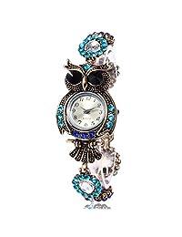 Yoyorule 2017 Vintage Owl Fashion Womens Quartz Bracelet Brand Watches Gift Wrist Watch (A)