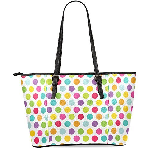 InterestPrint Polka Dot Women's Leather Tote Shoulder Bags Handbags