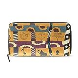 Womens Zipper Wallet Africa Art Clutch Purse Card Holder Bag