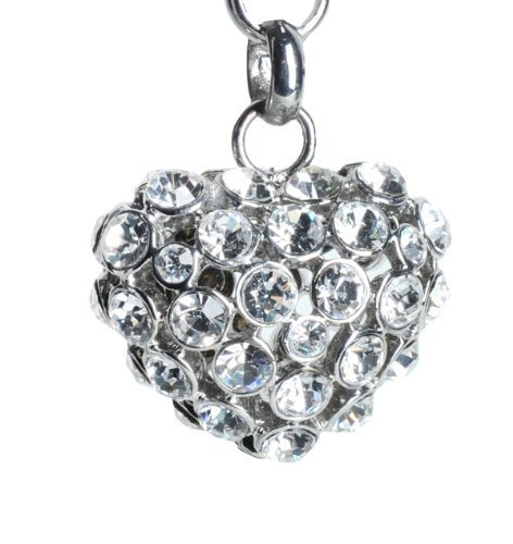 Lilly Rocket Clear Bling Rhinestone Puffed Love Heart Key Chain with Swarovski Crystals