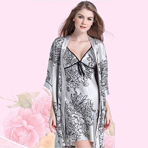 Sling Manches couleur Maison L Taille Robe La Gray gorge vêtements Sexy Deux Gray Nightdress Pièces Femmes Sous Longues Pyjamas À Soie Soutien PqAYxFBYWw