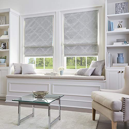 MISC 31 x 64 Silver Damask Cordless Roman Shade Stylish Room Darkening Pull Down Blinds Child Safe Privacy Window Shade, 5ft 4in Long