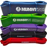 MummyStrength Resistance Bands for Men and Women. The Best Stretch Band for Pull Up Exercise and Powerlifting. Works With Any Pull Up Bar or Station. Single Band. Workout Guide Included