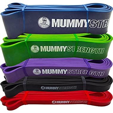 Red - SINGLE BAND - MummyStrength Pull Up Assist & Resistance Bands | Perfect For Pull-ups, Chin ups, Muscle Ups, Ring Dips, Gymnastics, CrossFit®, Power Lifting, & all Serious Fitness Programs | 41  Loop | Pullups + MummyStrength = Max Functional Bar Raising Results & a Body of Steel | LIFETIME GUARANTEE (SINGLE Band Only - 5 Levels to Choose From | Mix & Match Bands as Needed)