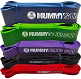 MummyStrength Resistance Bands for Men and Women. The Best Stretch Band for Pull Up Exercise and Powerlifting. Works With Any Pull Up Bar or Station. Single Band. Workout Guide Included - PURPLE