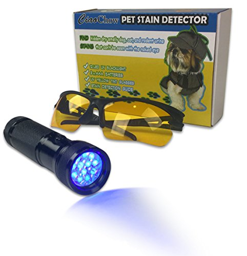 Ciao Chow Compact and Bright LED UV Blacklight Flashlight - Pet Urine Detector Kit - Free Safety Glasses, Batteries, and User Guide Included