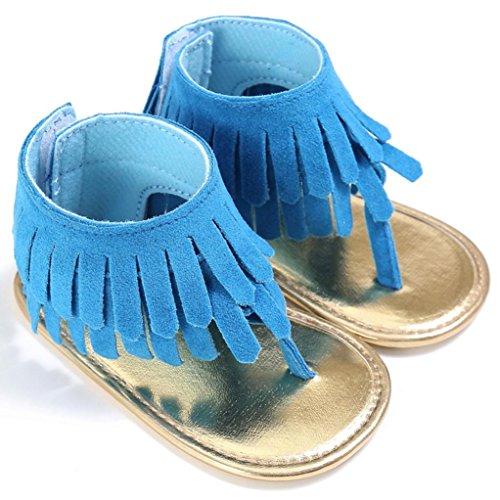 Sandalias para bebés, RETUROM Bebé la borla suave suela antideslizante sandalias zapatillas Azul