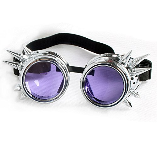 [FLORATA Hallowmas Cosplay Goggles, Antique Punk Style Gothic Glasses Cyber Spiked Steampunk Goggles BEST for Christmas, Festival, All Saints Day] (All Saints Day Costumes For Adults)