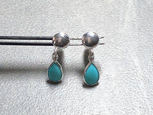 (6x4mm Sleeping Beauty Blue Turquoise Teardrops set in Sterling Silver Post)