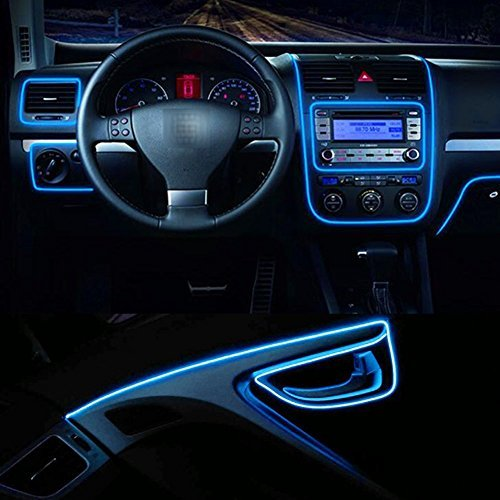 Car Interior Light Strip, 12V Neon Atmosphere Glowing Strobing Electroluminescent Light Glowing EL Wire Cable for Car Door/Console/Seat/Dash Board Decoration (3M Blue)
