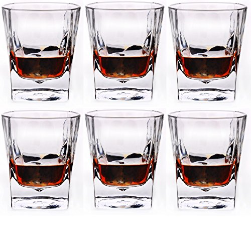 Circleware Squat Shot Glasses, Square Bottom with Round Top, Set of 6, 1.7 ounce, Clear, Limited Edition Glassware Whiskey Drinking - Glasses Bottom Round