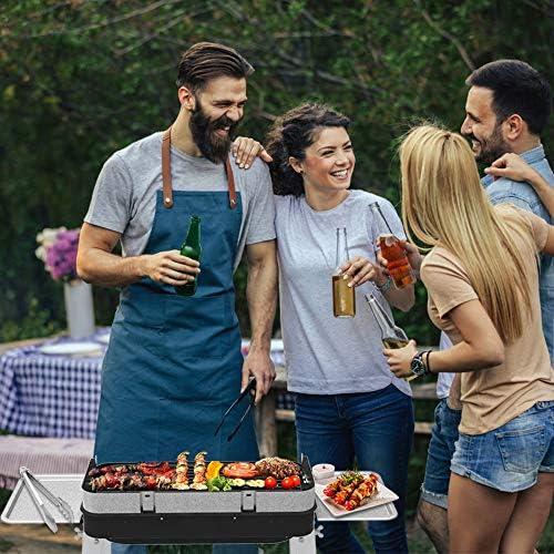 Barbecue Charbon de Bois BBQ Acier Inoxydable Grill Barbecue Grill 4-5 Personnes pour Camping et Pique Nique en Plein Air Jardin
