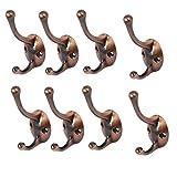 uxcell Home Handbag Umbrella Key Metal Double Hook Wall Mount Hanger Copper Tone 8pcs