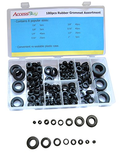 Accessbuy 180Pcs Round Grommet Assortment Automative for 8 in see-thru organizer lid