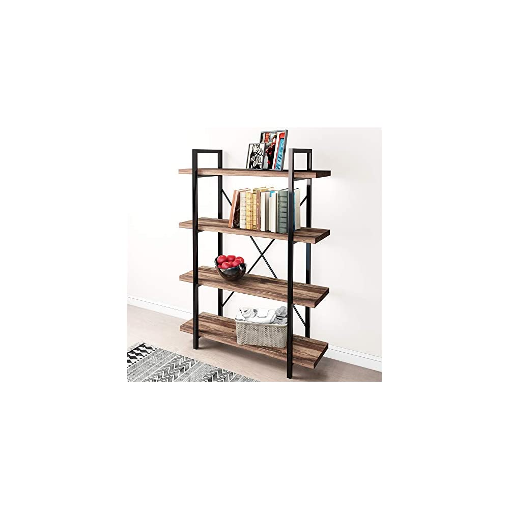 45MinST 4-Tier Vintage Industrial Style Bookcase/Metal and Wood Bookshelf Furniture for Collection,Vintage Brown, 3/4/5…