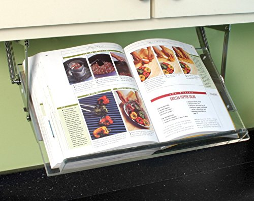 Under Cabinet Mounted Cookbook Holder - Acrylic - Made in the USA by Clear Solutions