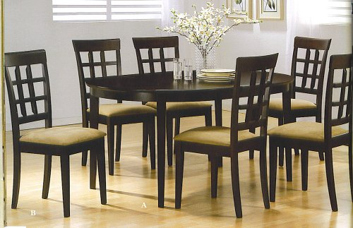 7pc Contemporary Cappuccino Finish Solid Wood Dining Table Chairs Set