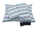 Bacati Aztec/Tribal Triangles 3 Piece Cotton Breathable Muslin Toddler Bedding Sheet Set, Aqua/Navy, Large