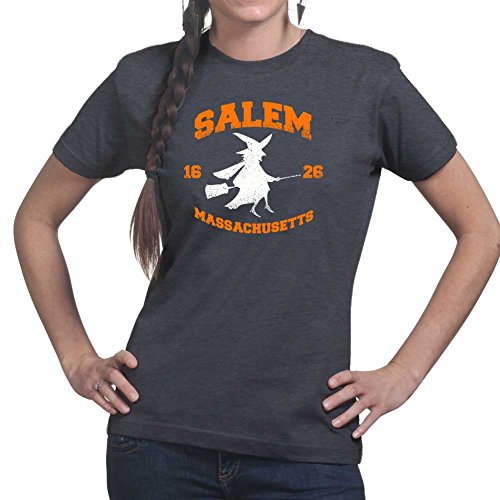 [Womens Salem Witch College Halloween Costume Ladies T Shirt XS Heather Charcoal] (Salem Witches Costumes)