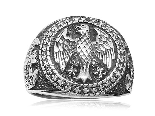 925 Sterling Silver Mens German Eagle Round Signet Bundesadler Band Ring (11)