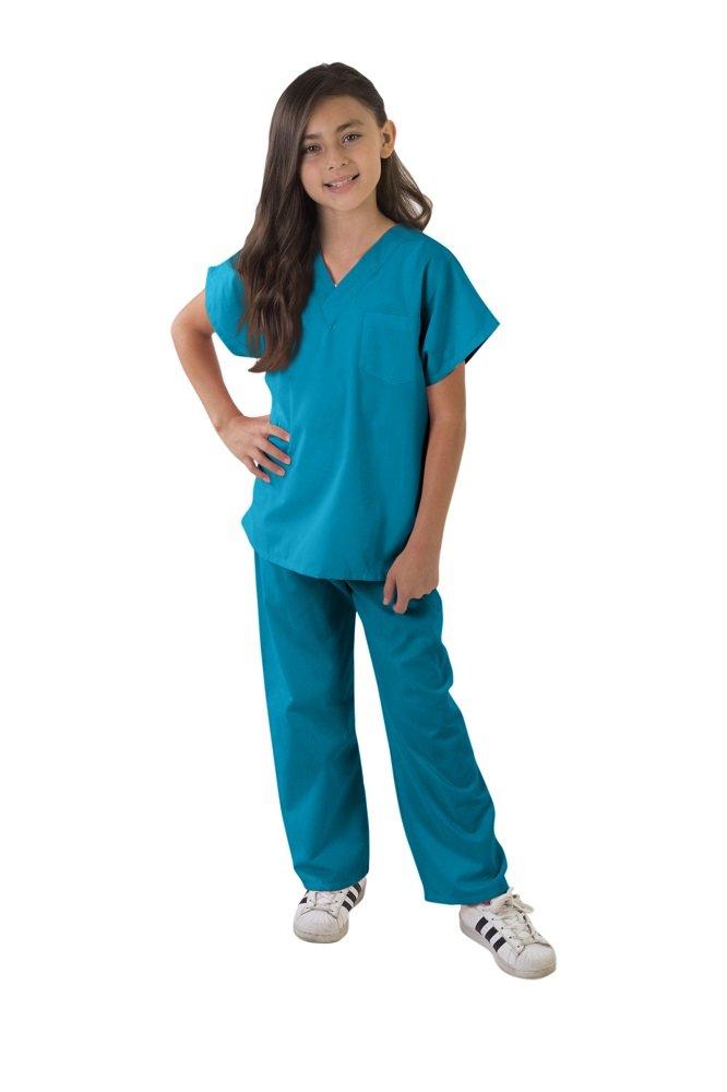 Kids Scrubs Super Soft Children Scrub Set Kids Doctor Dress up (5/6, Teal)