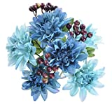 """Pack of 2 Artificial Dahlia 16"""" Flower Bouquet 3 Stems 9 Heads Big Flowers for Home Party Decorations Wedding Favors - Blue"""
