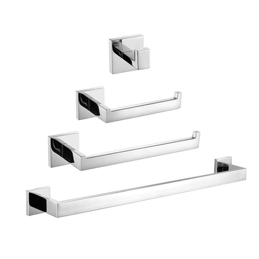 Leyden TM Wall Mount Solid Brass Chrome Bathroom Accessory Sets, 4-Piece Bath Collection Set Towel Bars Robe Hooks Towel Shelf