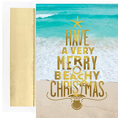 Masterpiece Warmest Wishes 18-Count Christmas Cards, Merry Beachy Christmas (18k Lighthouse)