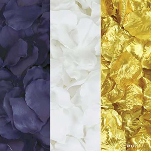 Andaz Press Silk Fabric Rose Petals Table Decorations, Navy Blue, White, Gold, 600-Pack, Colored Wedding Baby Bridal Shower Party Supplies - Gold Colored Fabric