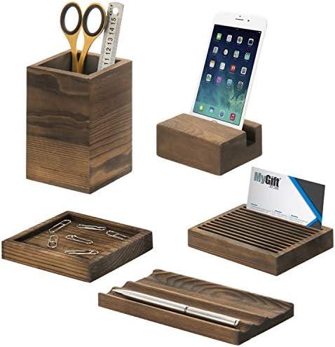 MyGift Schreibtisch-Aufbewahrungs-Set, Vintage-Design, Holz, 5-teilig Größe S braun