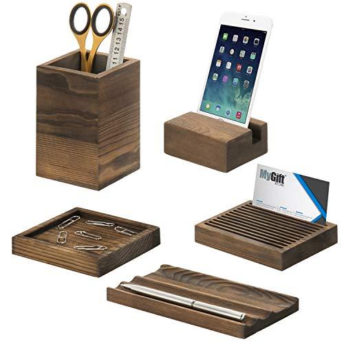 MyGift 5-Piece Vintage Dark Brown Wood Office Desk Supply Holder Set
