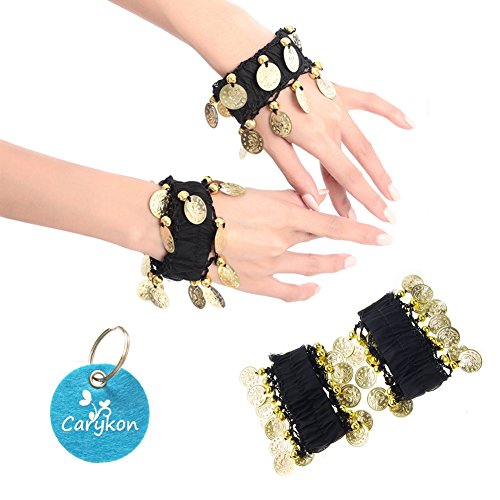 Black And Gold Costumes Dance (Carykon Belly Dance Wrist Arm Anklet Bracelets Gold Coins Halloween Costume Party Accessories, Set of 4 (2 Pairs))
