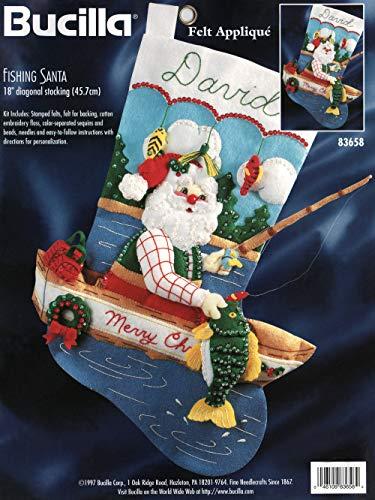 Bucilla - Fishing Santa - Felt Applique Stocking Kit 83658