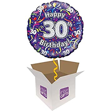 InterBalloon Helium Inflated Happy 30th Birthday Purple Streamers Balloon Delivered In A Box