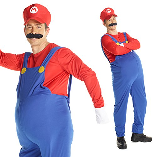 Mens Super Plumber Red Brother Games Costume Costume (Super Mario Costume For Men)