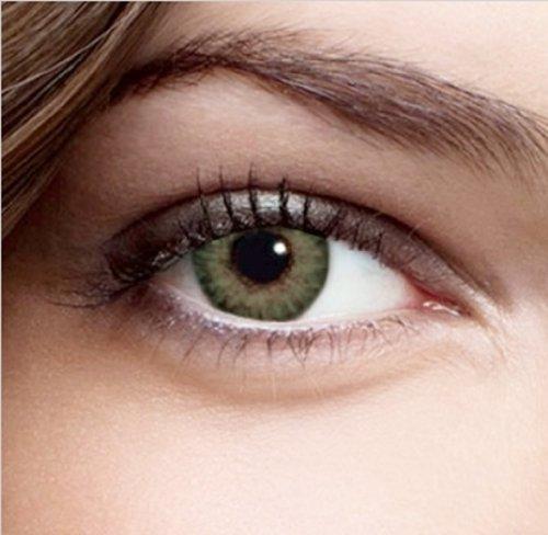 Farbige Kontaktlinsen Monatslinsen Grün Dreifarbig weiche Funlinsen ohne Stärke + 1 Kontaktlinsenbehälter