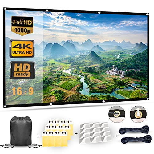 Projection Screen, 4K Projector Screen 120 inch, 16x9 HD 3D TV Projector Screen Outdoor Movie Screen Portable Projector Screen Foldable Projection Screen (120