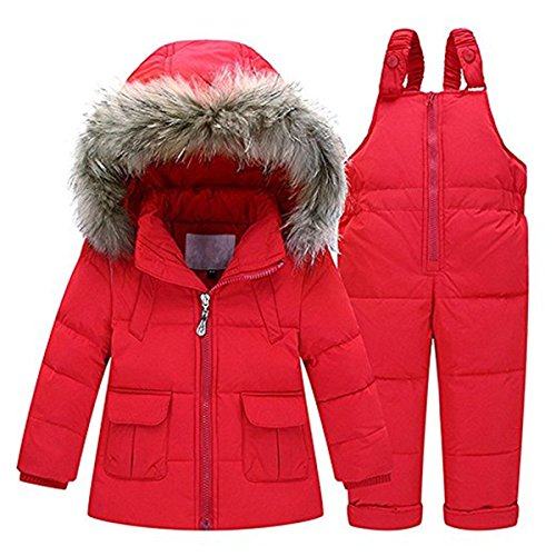 Baby Girls Two Piece Winter Warm Hooded Fur Trim Snowsuit Puffer Down Jacket with Snow Ski Bib Pants Outfits 1-2 Years Red